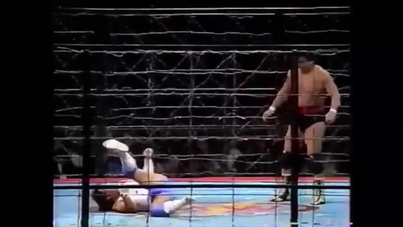 Atsushi Onita vs Genichiro Tenryu Exploding Barbed Wire Cage Death Match
