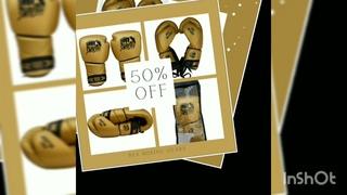 Golden Shiny Leather Lace up Training Boxing Gloves REX Gold Leather Boxing Gloves