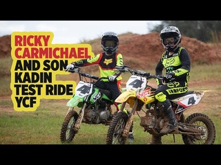 Ricky Carmichael and Son Kaden Test Ride YCF Pit Bikes at The Goat Farm.