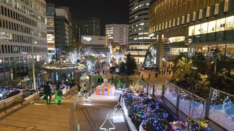 【4K】Night walk looking for Christmas Lights at Tokyo station, Ginza, Yurakucho and Hibiya