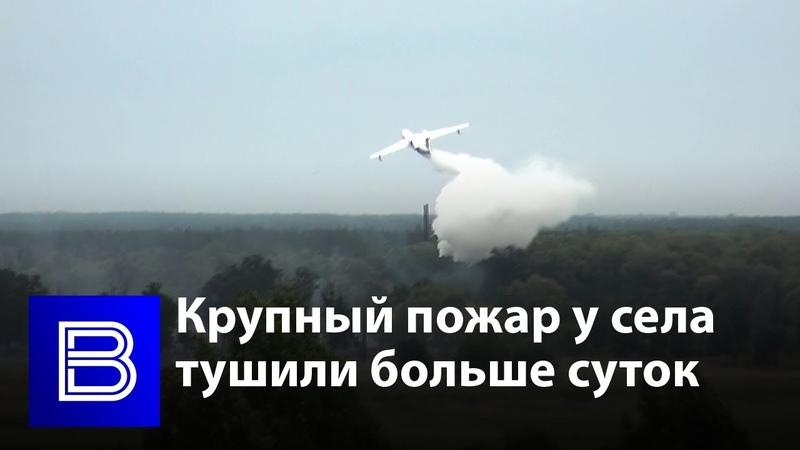 В Воронежской области больше суток тушили крупный пожар у села
