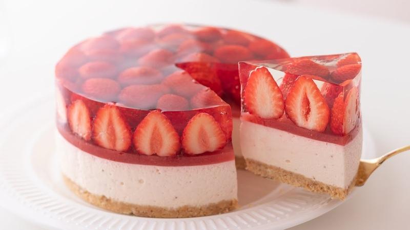 いちごのレアチーズケーキの作り方 No Bake Strawberry Cheesecake*Eggless Without oven HidaMari Cooking