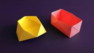 Простая оригами коробочка • Как сделать коробку оригами из бумаги без клея • Easy Origami Box