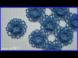Crochet Lace Rose Motifs for Tablecloth | How to Join flower motifs together