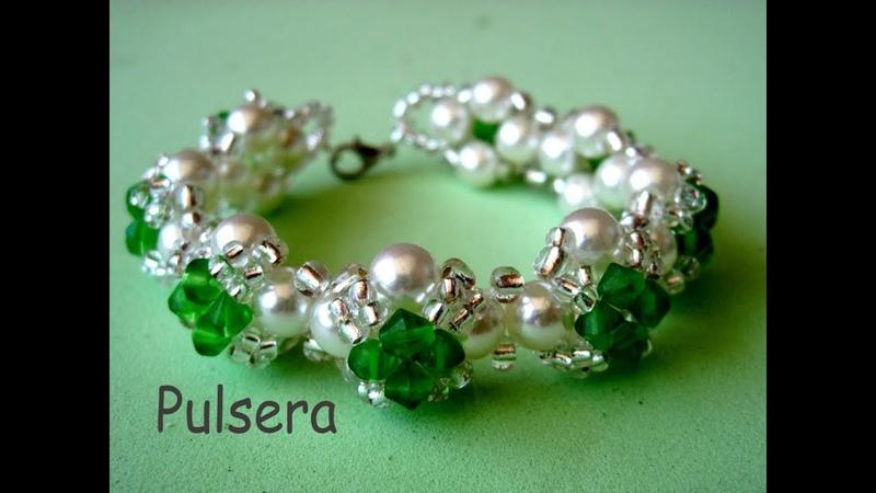 DIY Pulsera fácil de perlas tupis y mostacillas Easy bracelet with pearls