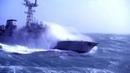 Военный корабль в шторм