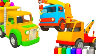 Big trucks and machines - Leo the truck cartoon & Street vehicles for kids.