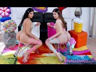 Serena Santos, Natalie Brooks - Deepthroating Divas Do It Well - Threesome Sex FFM Oral Blowjob Swallow Gagging Saliva Sloppy