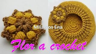 Flor tejida a crochet FÁCIL Y RÁPIDO para aplicar en Boinas y gorros.