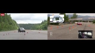 Moose test Porsche 911 2019 vs LADA Kalina NFR (лосиный тест)
