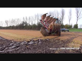 Ploughing power harrowing in one pass with a john deere 7280r lemken zirkon kverneland