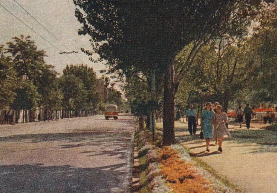 Вот так выглядела Большая Садовая в те годы, когда она ещё называлась улицей Энгельса.