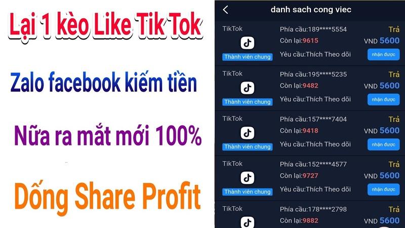 Lại thêm 1 kèo like tik tok zalo faceook mới nữa ra mắt dống Share Profit