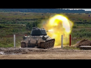 Стрельбы и занятия по вождению танков Т-34 в Подмосковье