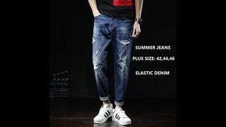 Мужские джинсы модные рваные джинсы хип хоп мужские шаровары джинсы размера плюс 42 44 46 летние хлопковые брюки до щиколотки