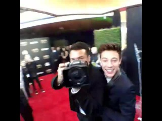 On the HFAs red carpet with @camerondallas @bryanteslava