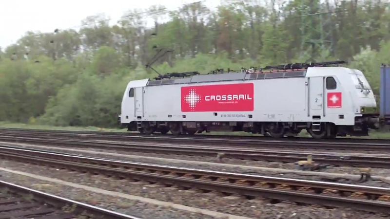 Traxx Crossrail with Container Train at Cologne Gremberg Germany 27 4 2015