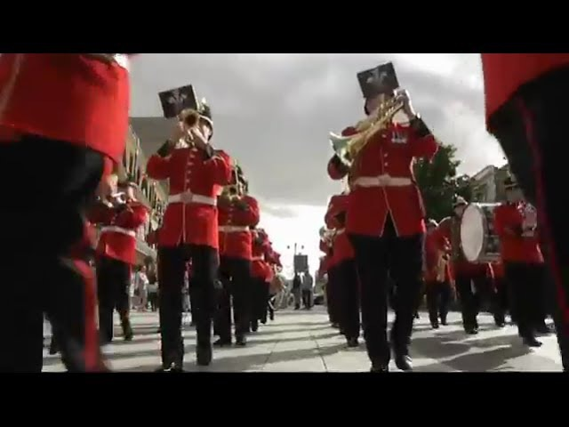 British Army musicians flashmob 'Colonel Bogey' at Capitol Shopping Centre Cardiff 5 Oct 2013