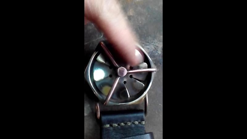 Продаётся ремень ручной работы Вентилятор вращается steampunk кожа медь латуньсостареная ременьизкожи ручнаяработа кожа handm