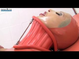 Fetish live latex neck corset orgasms