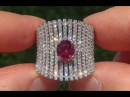 GIA Certified UNHEATED Natural VS1 Ruby Diamond 18k White Gold Cocktail Ring GEM - C328