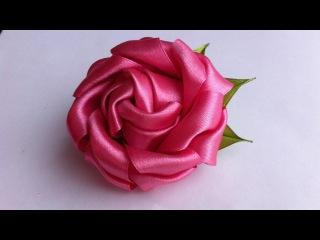 Украшение на заколку Канзаши / Пышная роза