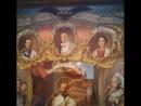 Патриарх Кирилл, премьер-министр Медведев и православная икона с «ликами» самозванцев Кирилловичей и приспешника Гитлера 2014