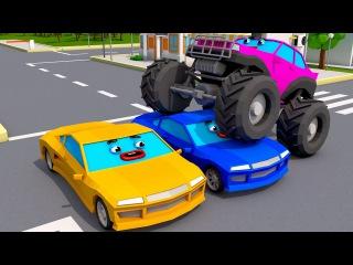 Monster Truck Vs Racing Cars - Car Accident - Monster Trucks Video For Kids Cars Team Cartoons