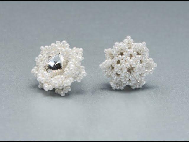 How to bezel 10mm rivoli Snowflakes Earrings Free Beading Tutorial by Sidonia