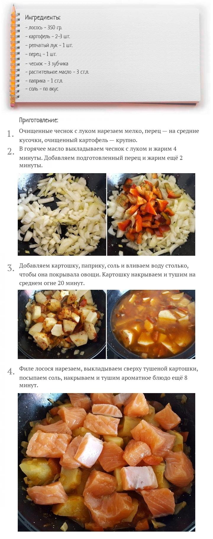 Тушеная картошка с лососем, изображение №2
