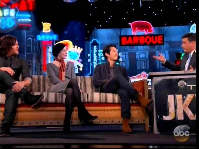 Melissa McBride Norman Reedus and Steven Yeun on Jimmy Kimmel
