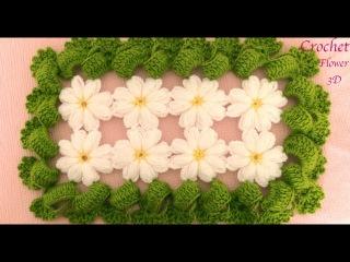 Flor Margarita 3D tejidas a Crochet con hojas para cobijitas caminos de mesa tejido tallermanualperu