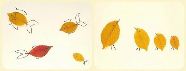 Поделки из осенних листьев. Рисуем часть изображения, и даем ребенку доделать картинку, наклеив листочки.