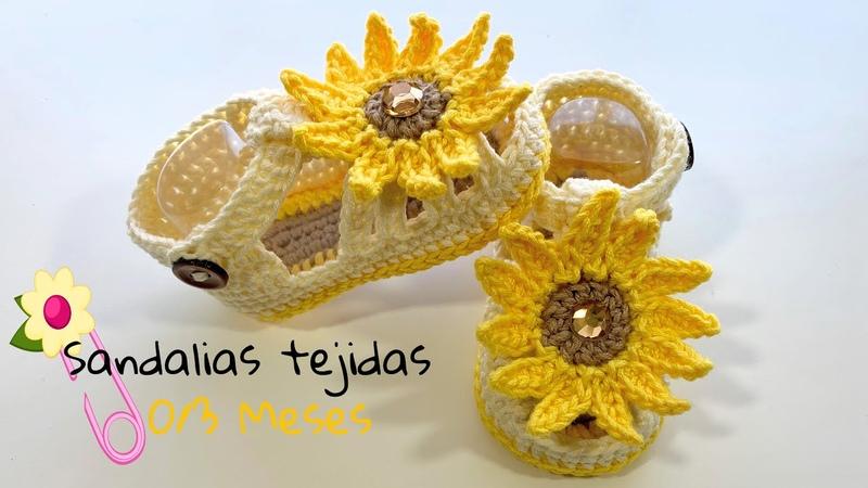 Sandalias de Girasol para bebe a crochet 0 3 meses Paso a paso Crochet baby sandalas 0 3 months