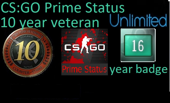 CS:GO Prime Status UNLIMITED   7digits10 year veteran 16 Year Badge + OE