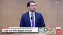 Jimmie Åkesson SD Tal innan Stefan Löfven S blir Röstad som Statsminister 2019