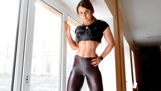 Fitness model leather leggings. high heeled shoes