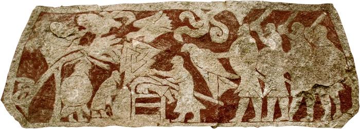 Жертвоприношение викингов перед боем. Высечено в камне, полости заполнялись кровью.V-VII в.