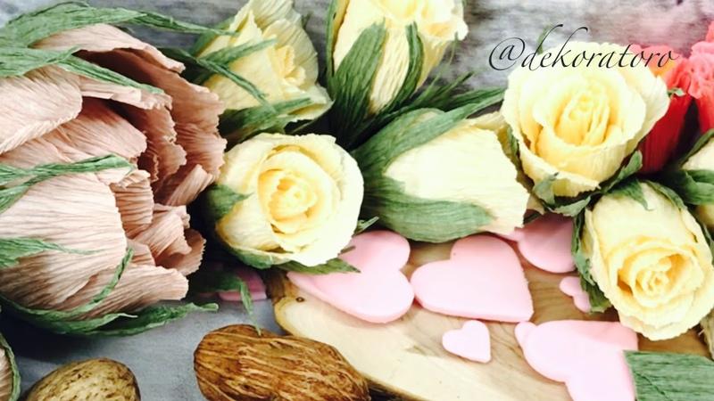 Нежные бутоны роз из 8 лепестков очень простые розочки из бумаги DekoratoroDIY