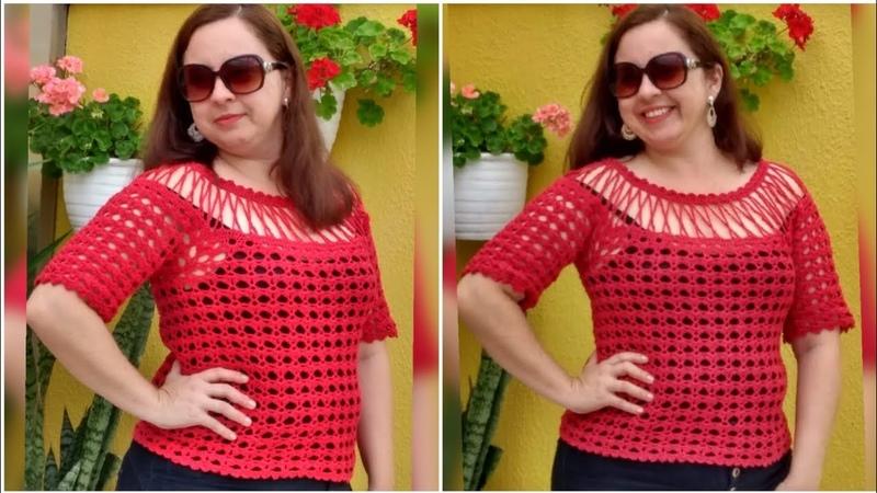 Blusa de Crochê com Pala de correntinhas/ Tutorial Diy Crochet