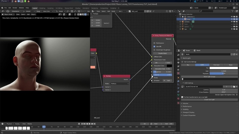 Using Translucency Map for Subsurface Scattering in Blender Lux Core Render Skin Shader Tutorial