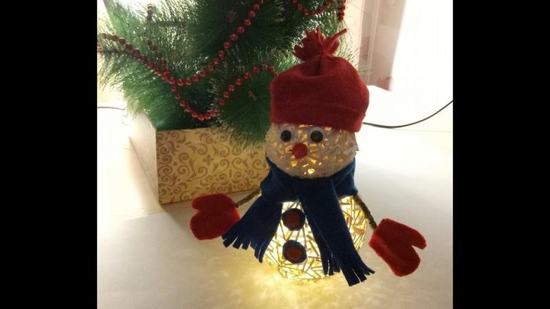 Снеговик из спичек светильник поделка
