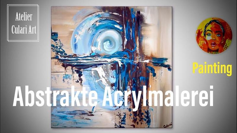 Abstrakte Kunst| malen Kreise und Linien mit Acrylfarbe | Abstrakte Malerei | Moderne Acrylmalerei