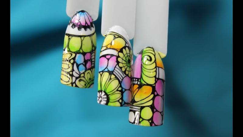 Абстракция на ногтях Суперский летний дизайн Очень крутой яркий дизайн ногтей китайская роспись