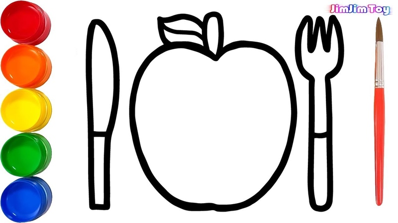 Glitter Apple cutlery set Drawing and coloring | Coloring Pages for Kids, Toddlers | JimJim Art Toy