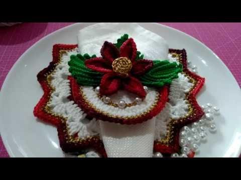 Continuação da vídeo aula jogo sousplat natalino encanto com pérolas e fio dourado com Maria José