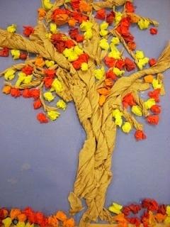 Осеннее дерево из салфеток Поделку аппликацию осеннего дерева на листе бумаги можно сделать с дошкольниками 5-6 лет и младшими школьниками из цветных салфеток. Салфетки скручиваются и сминаются