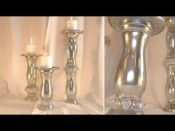 Shiny Silver w Golden Sparkles Candle Holder Set DT DIY