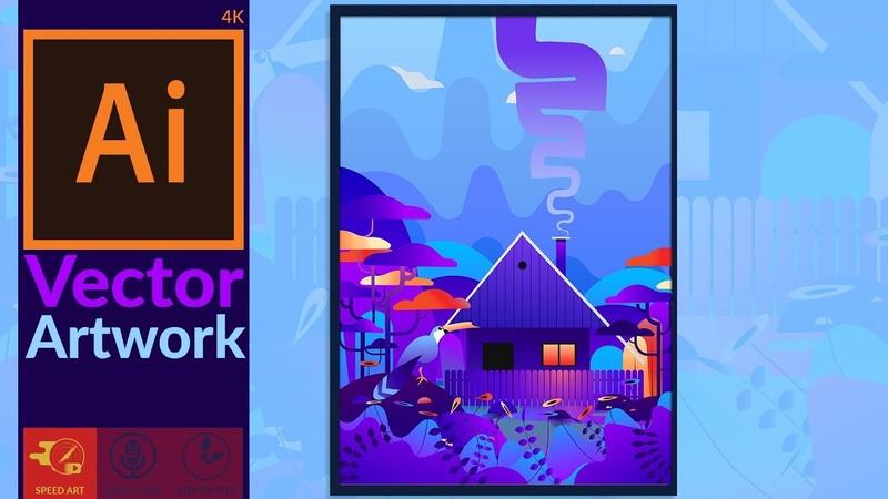 Fantasy artwork in Adobe Illustrator CC Speed Art