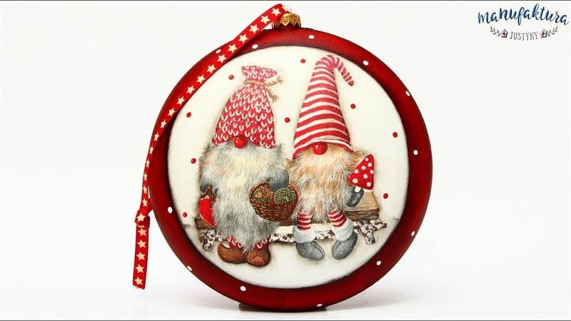 Świąteczny medalion z Gnomami Christmas medalion tutorial DIY